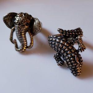 Stretchy Boho Brass Rings Elephant & Alligator